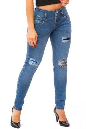 Jean para Mujer sin bolsillos Tobillero con Rotos